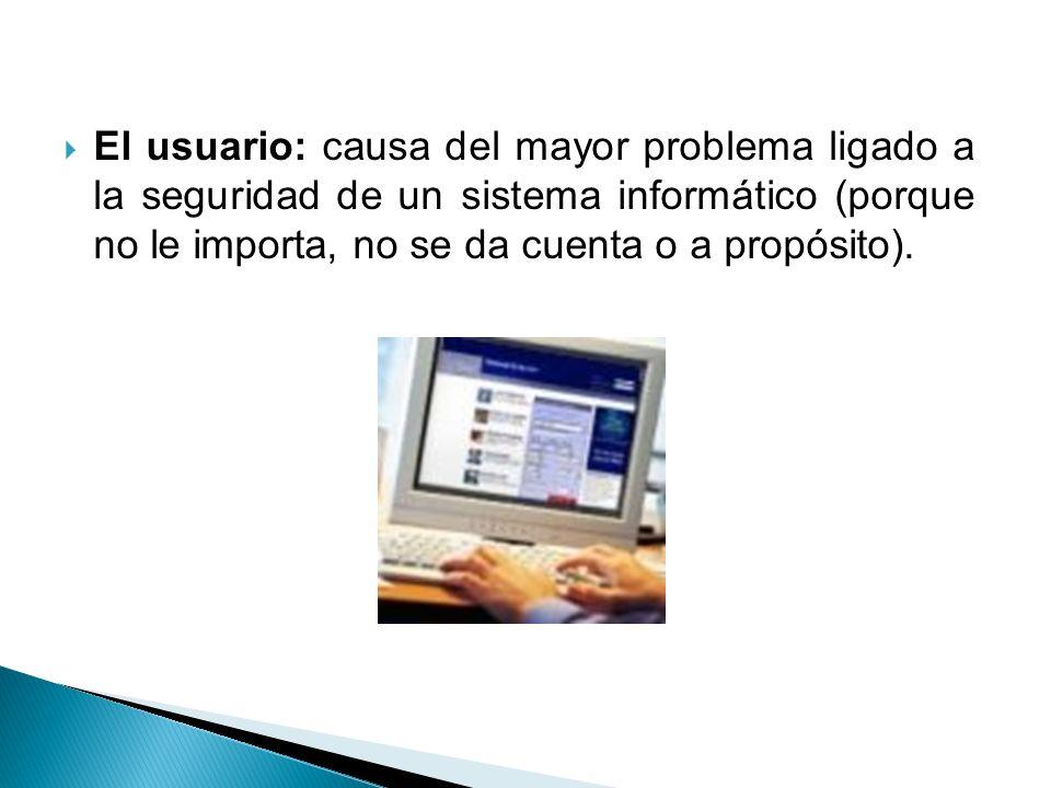 El usuario: causa del mayor problema ligado a la seguridad de un sistema informático (porque no le importa, no se da cuenta o a propósito).