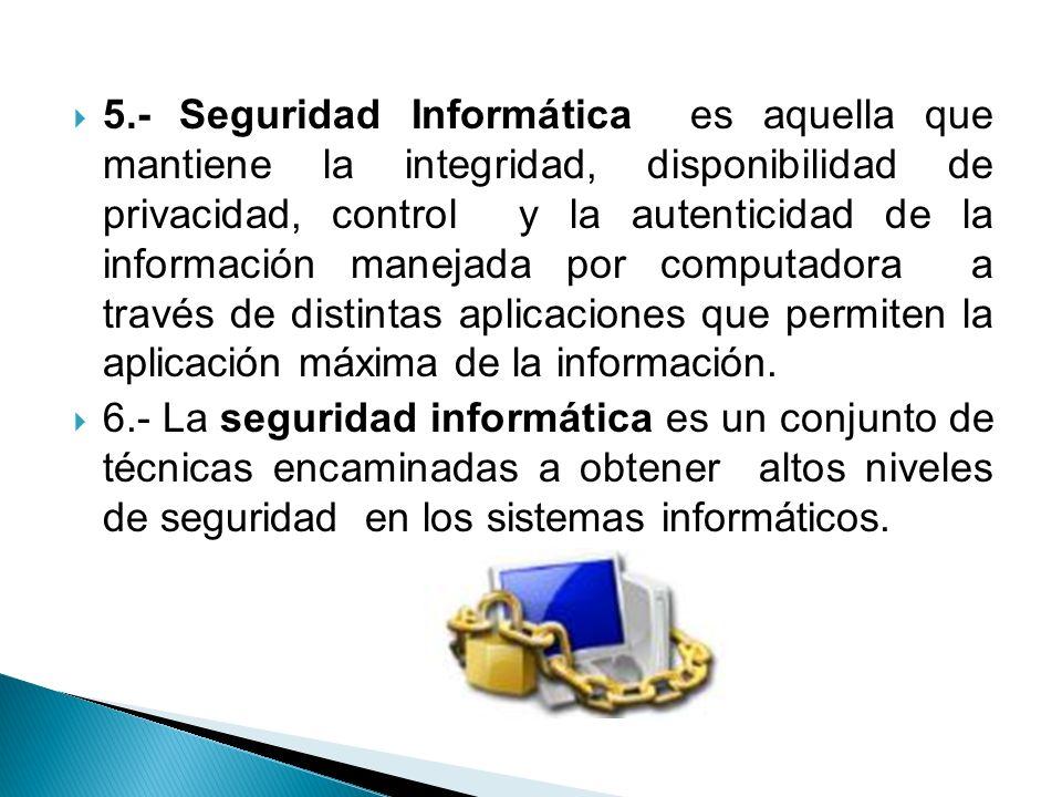 5.- Seguridad Informática es aquella que mantiene la integridad, disponibilidad de privacidad, control y la autenticidad de la información manejada por computadora a través de distintas aplicaciones que permiten la aplicación máxima de la información.