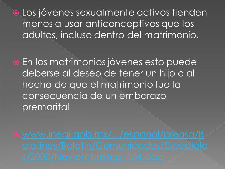 Los jóvenes sexualmente activos tienden menos a usar anticonceptivos que los adultos, incluso dentro del matrimonio.