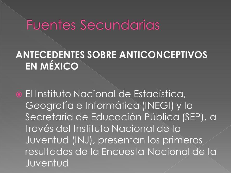 Fuentes Secundarias ANTECEDENTES SOBRE ANTICONCEPTIVOS EN MÉXICO