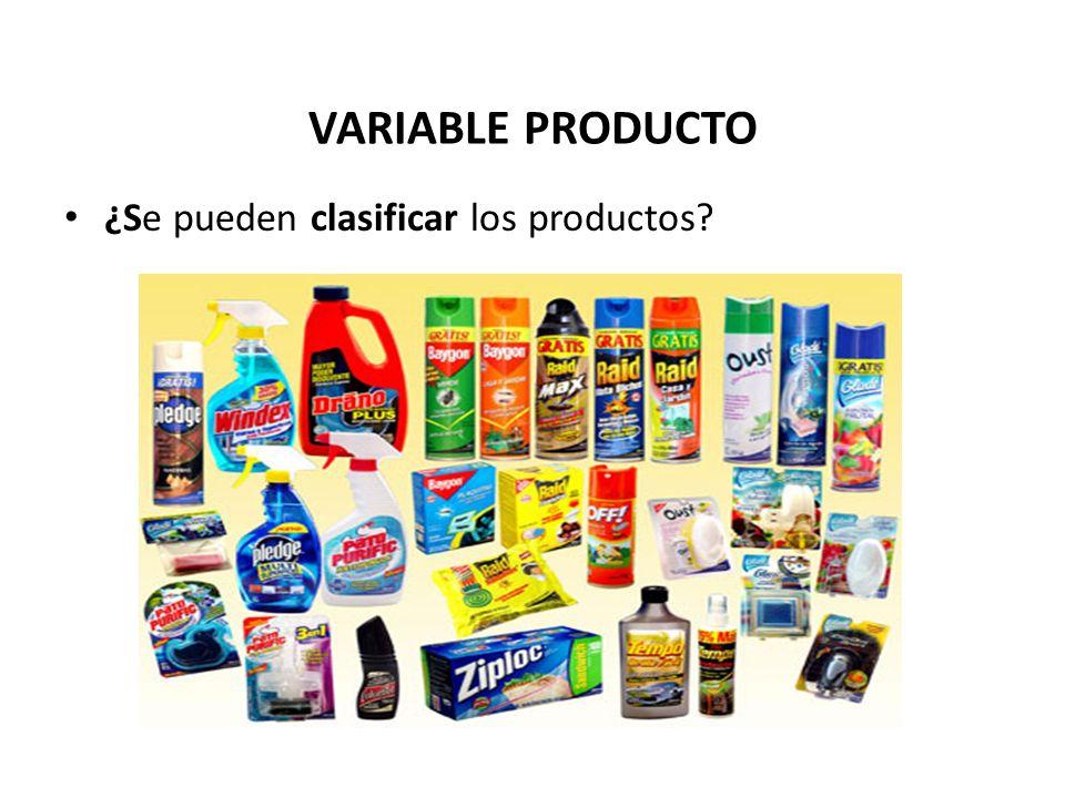 VARIABLE PRODUCTO ¿Se pueden clasificar los productos