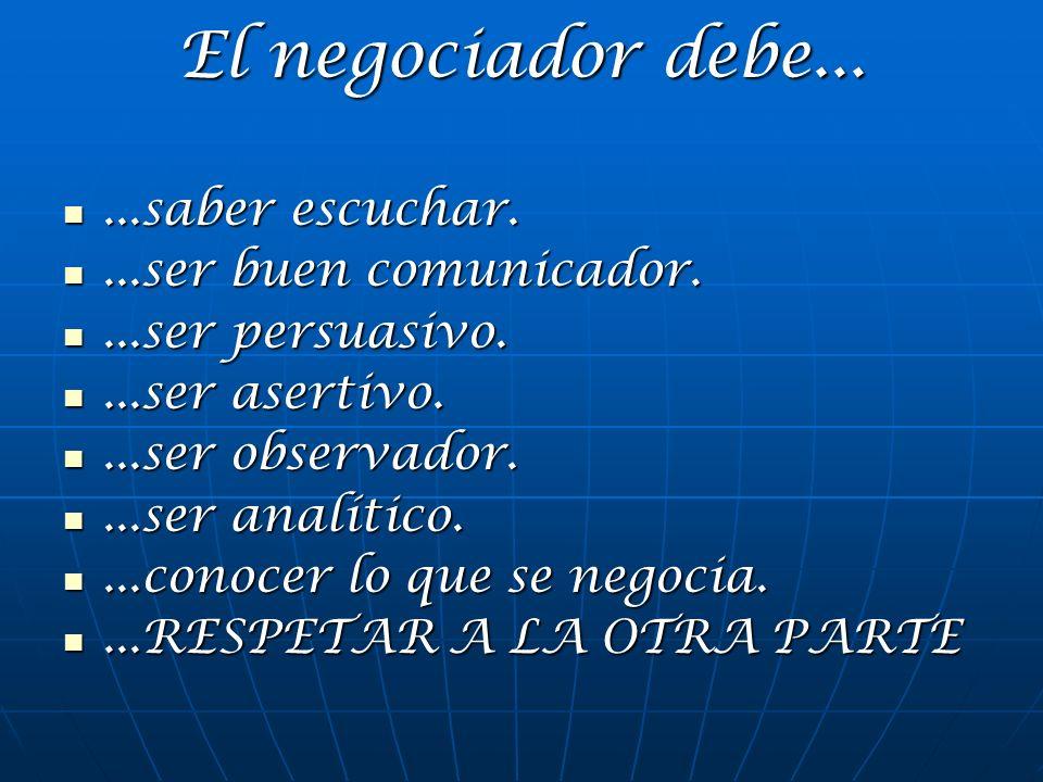El negociador debe... ...saber escuchar. ...ser buen comunicador.