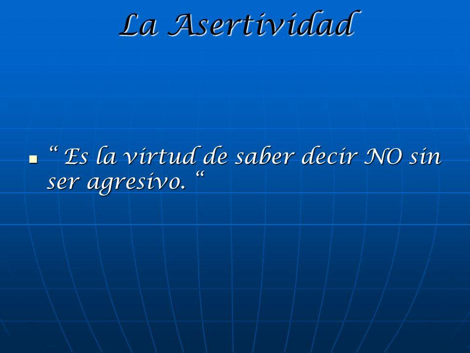 La Asertividad Es la virtud de saber decir NO sin ser agresivo.