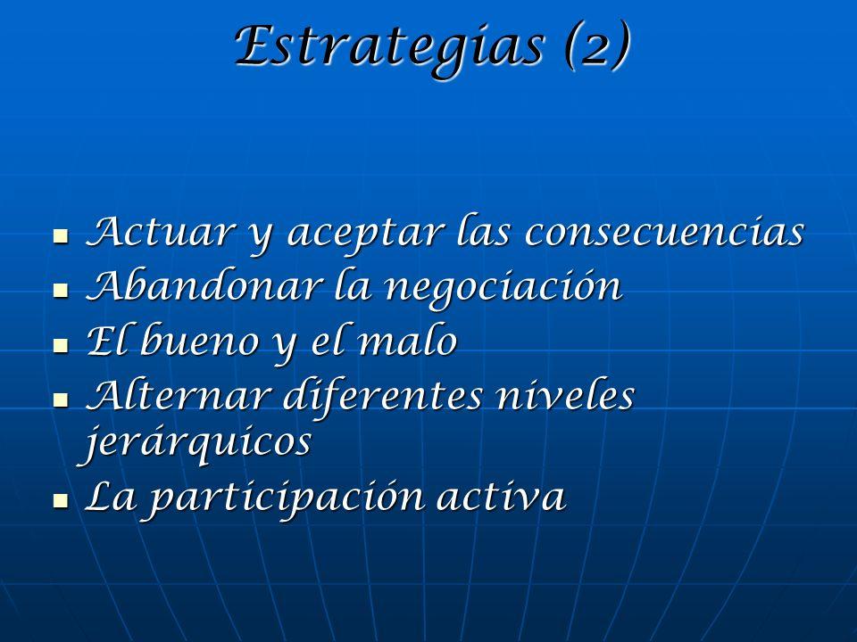 Estrategias (2) Actuar y aceptar las consecuencias