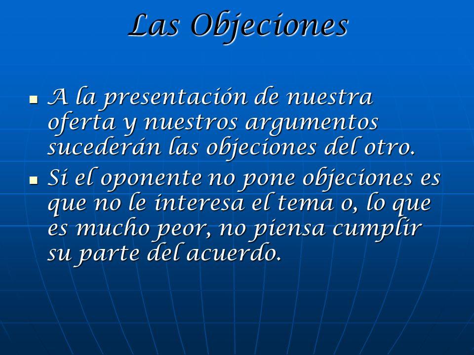 Las Objeciones A la presentación de nuestra oferta y nuestros argumentos sucederán las objeciones del otro.