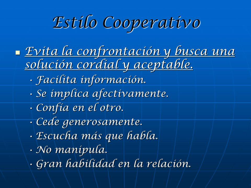 Estilo Cooperativo Evita la confrontación y busca una solución cordial y aceptable. Facilita información.