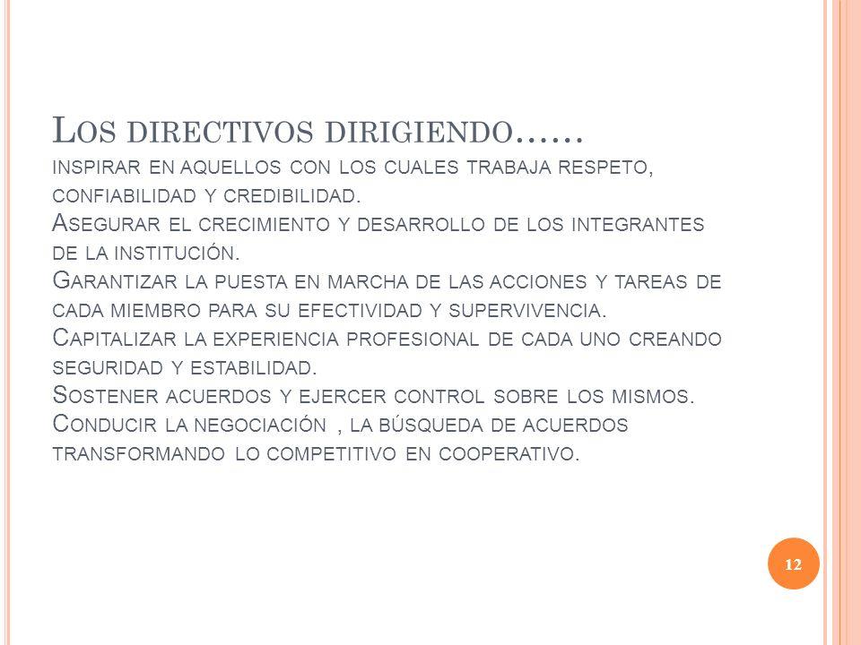 Los directivos dirigiendo…… inspirar en aquellos con los cuales trabaja respeto, confiabilidad y credibilidad.