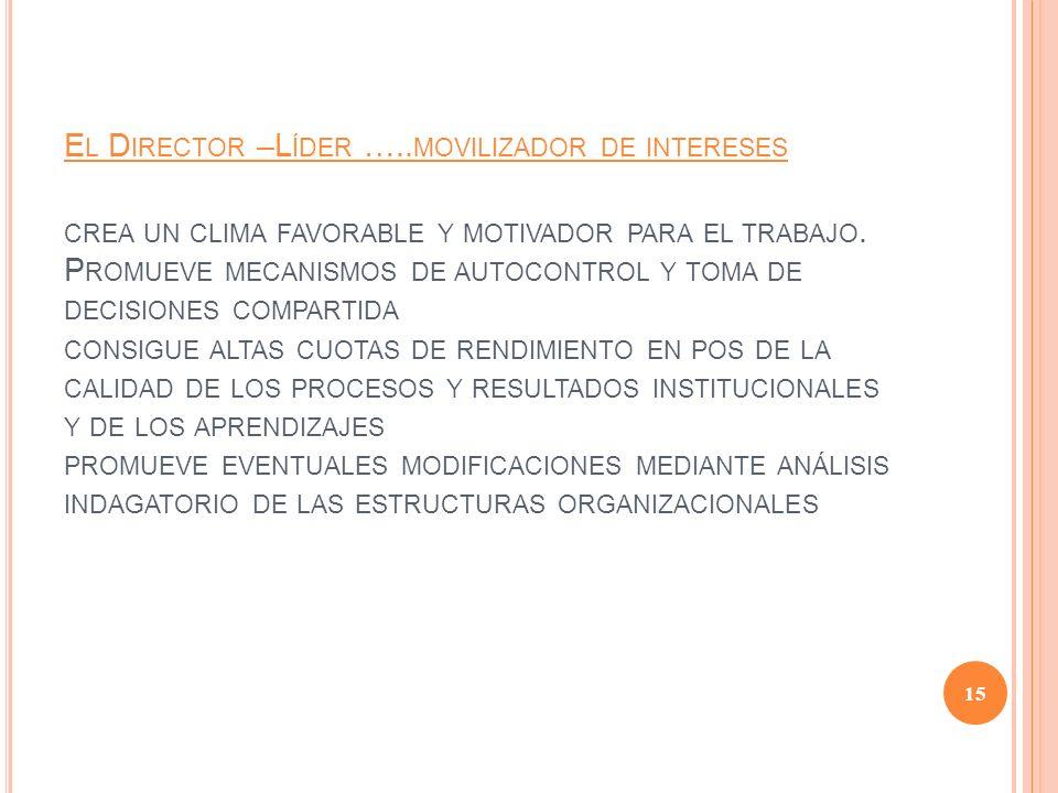 El Director –Líder …..movilizador de intereses crea un clima favorable y motivador para el trabajo.