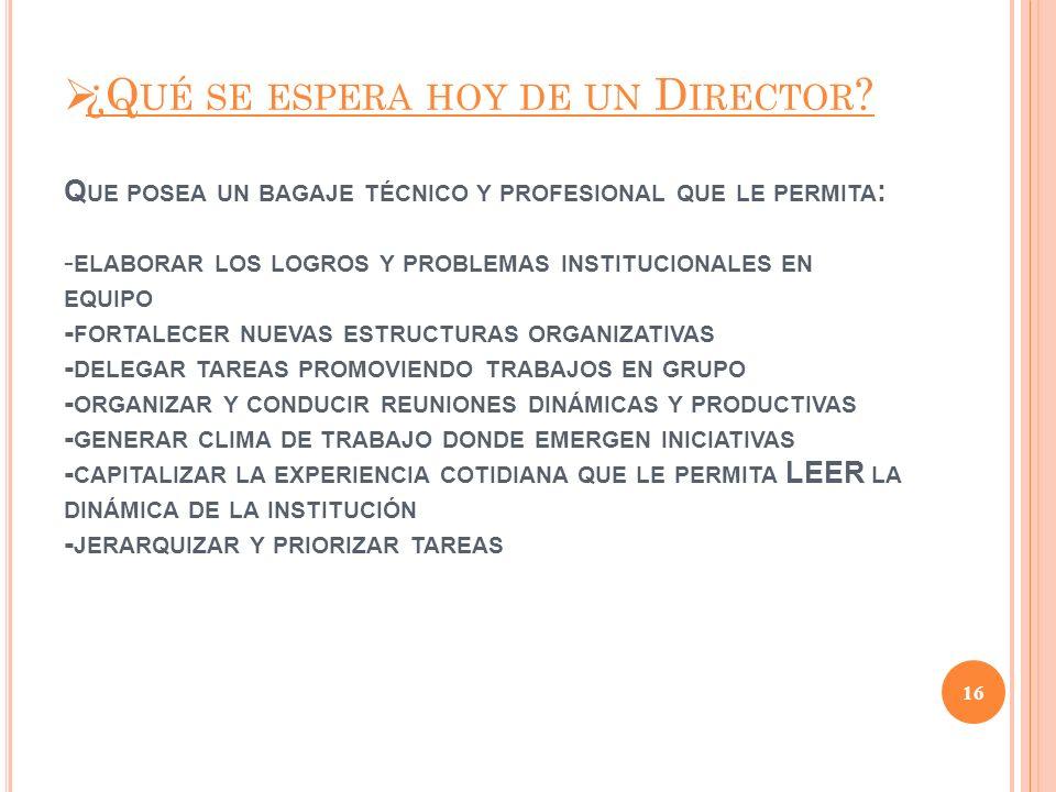¿Qué se espera hoy de un Director