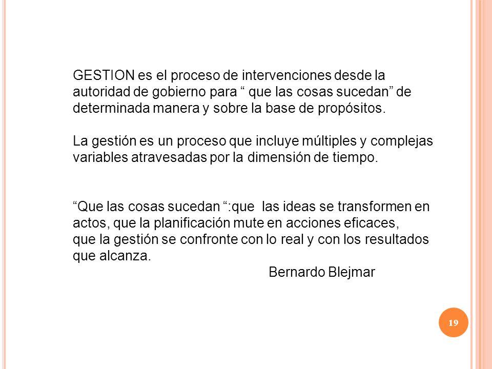 GESTION es el proceso de intervenciones desde la autoridad de gobierno para que las cosas sucedan de determinada manera y sobre la base de propósitos.