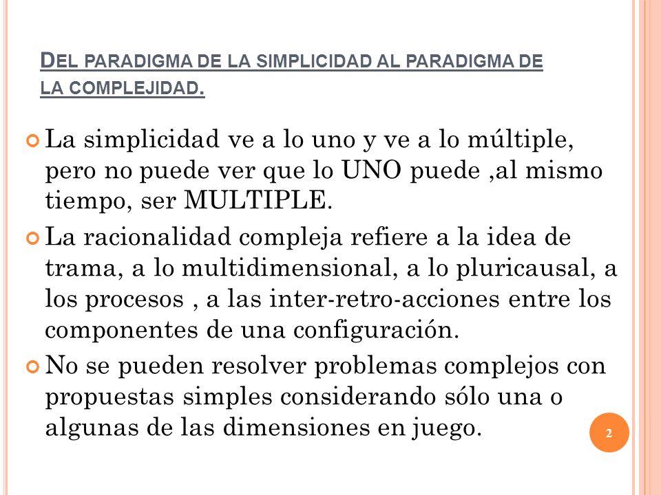 Del paradigma de la simplicidad al paradigma de la complejidad.