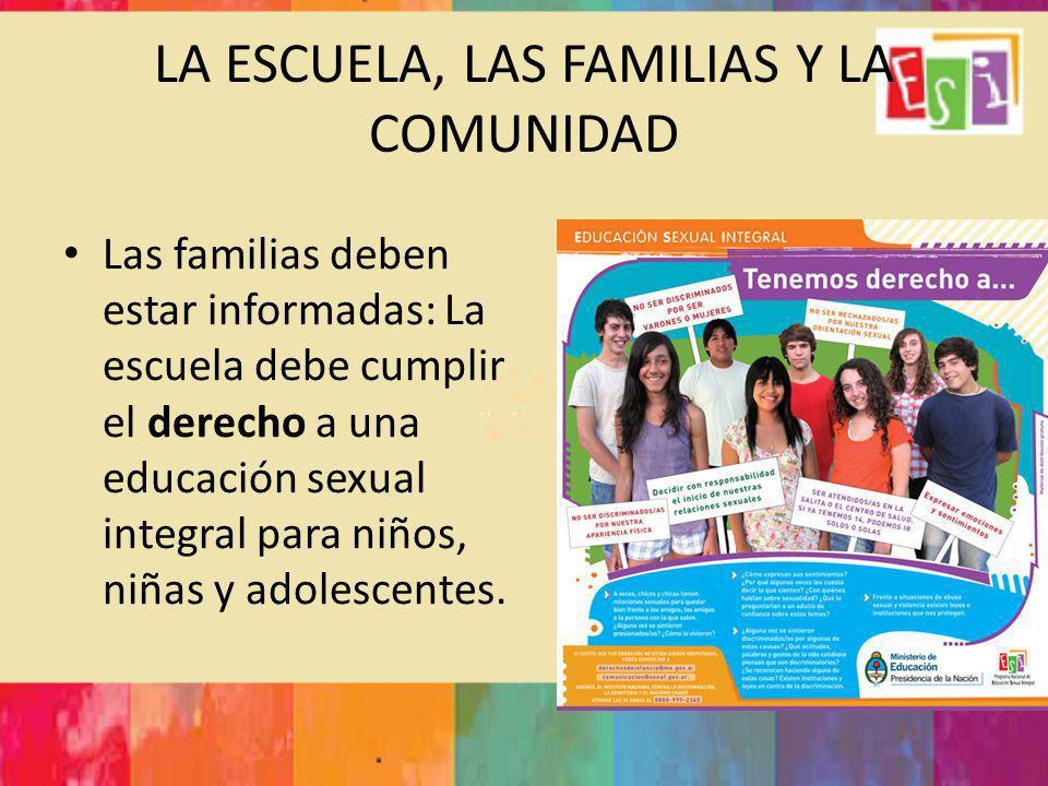 LA ESCUELA, LAS FAMILIAS Y LA COMUNIDAD