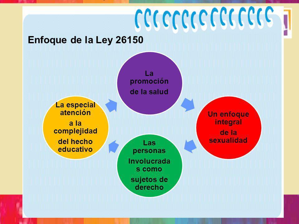Enfoque de la Ley 26150 La promoción de la salud Un enfoque integral