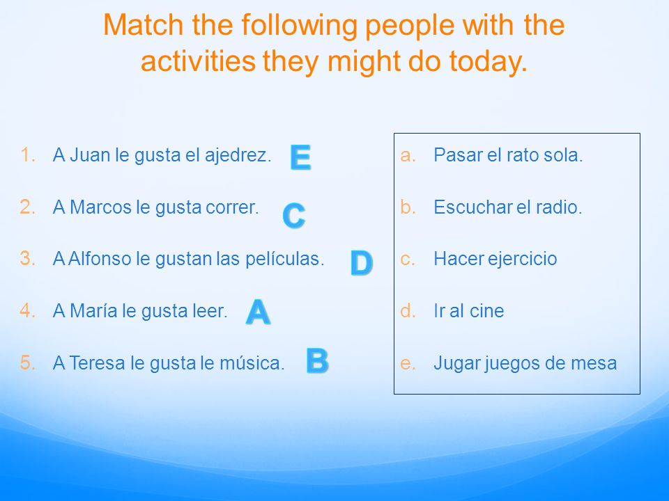 Match the following people with the activities they might do today.