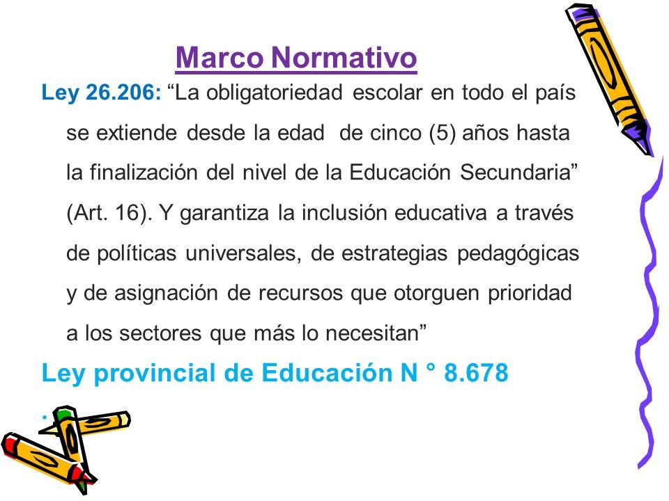 Marco Normativo Ley provincial de Educación N ° 8.678 .