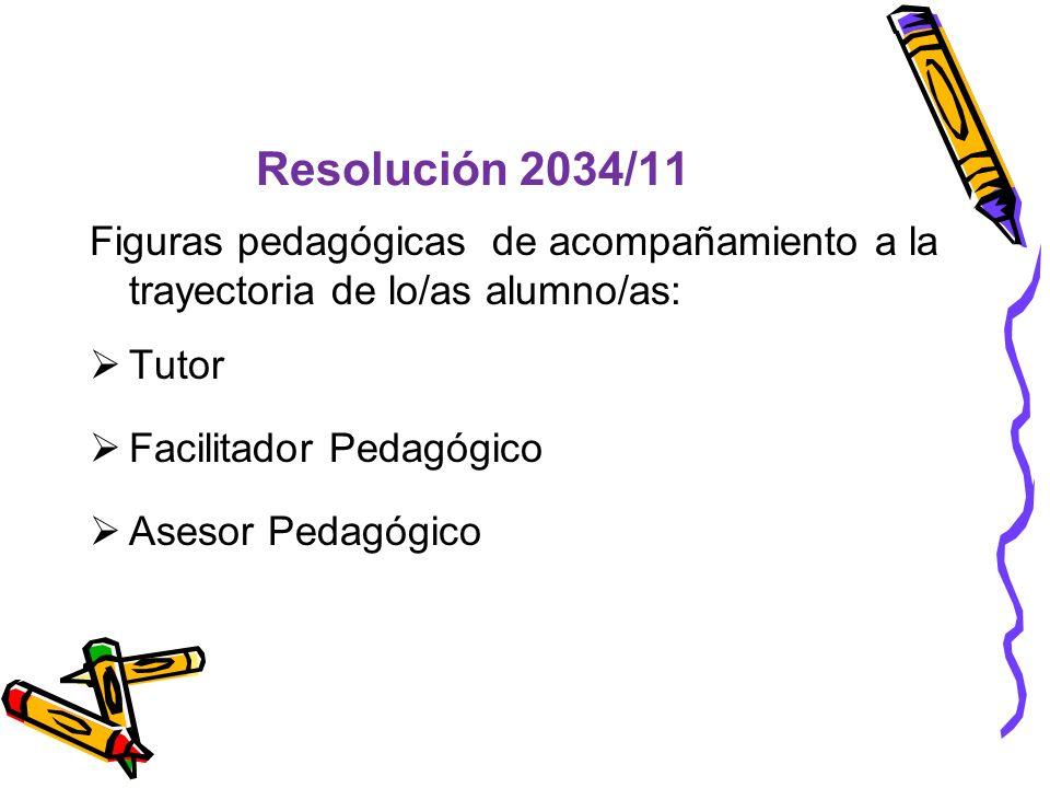 Resolución 2034/11 Figuras pedagógicas de acompañamiento a la trayectoria de lo/as alumno/as: Tutor.