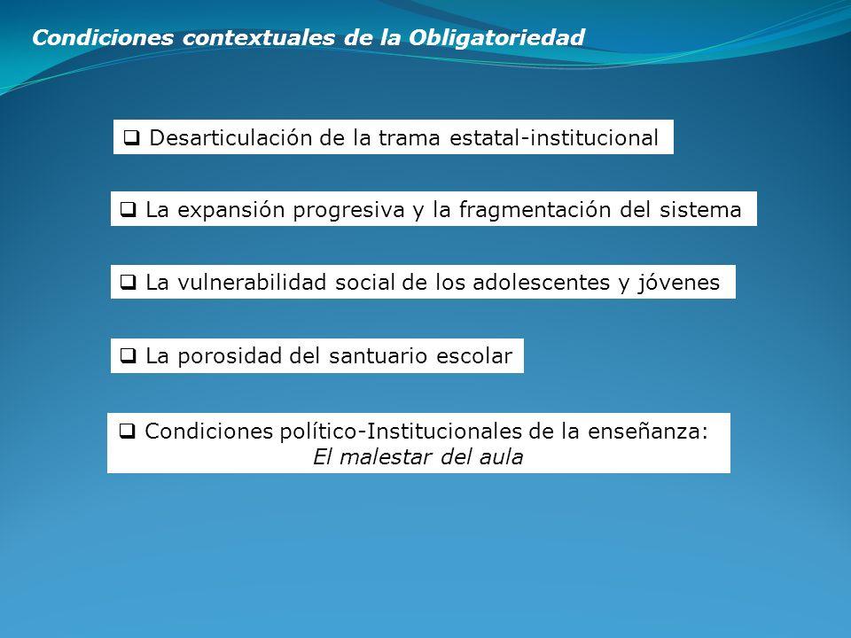Condiciones político-Institucionales de la enseñanza: