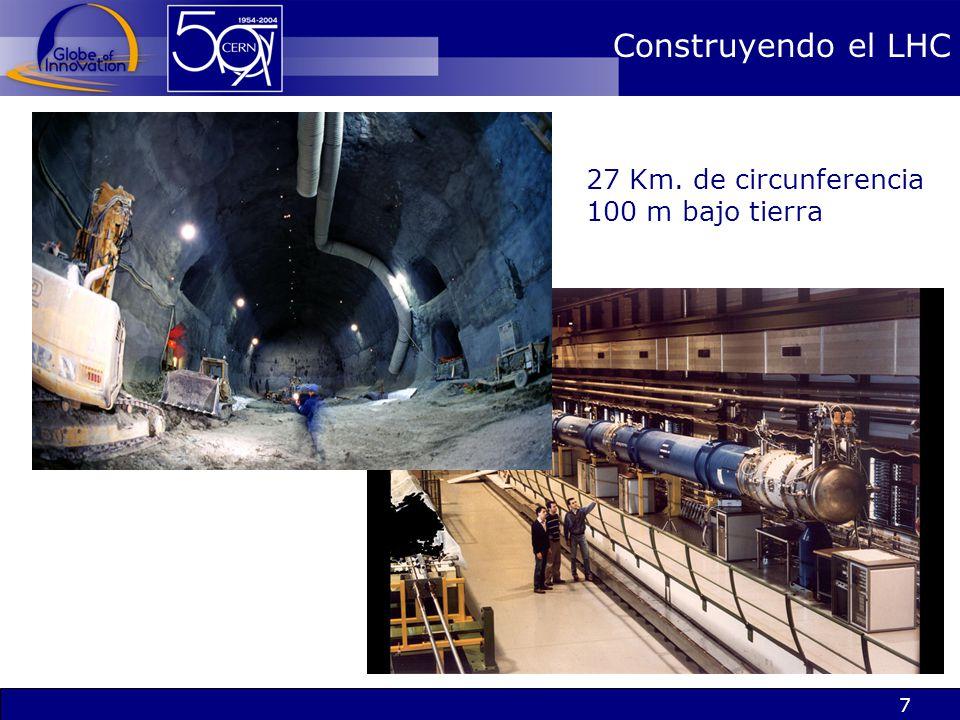 Construyendo el LHC 27 Km. de circunferencia 100 m bajo tierra