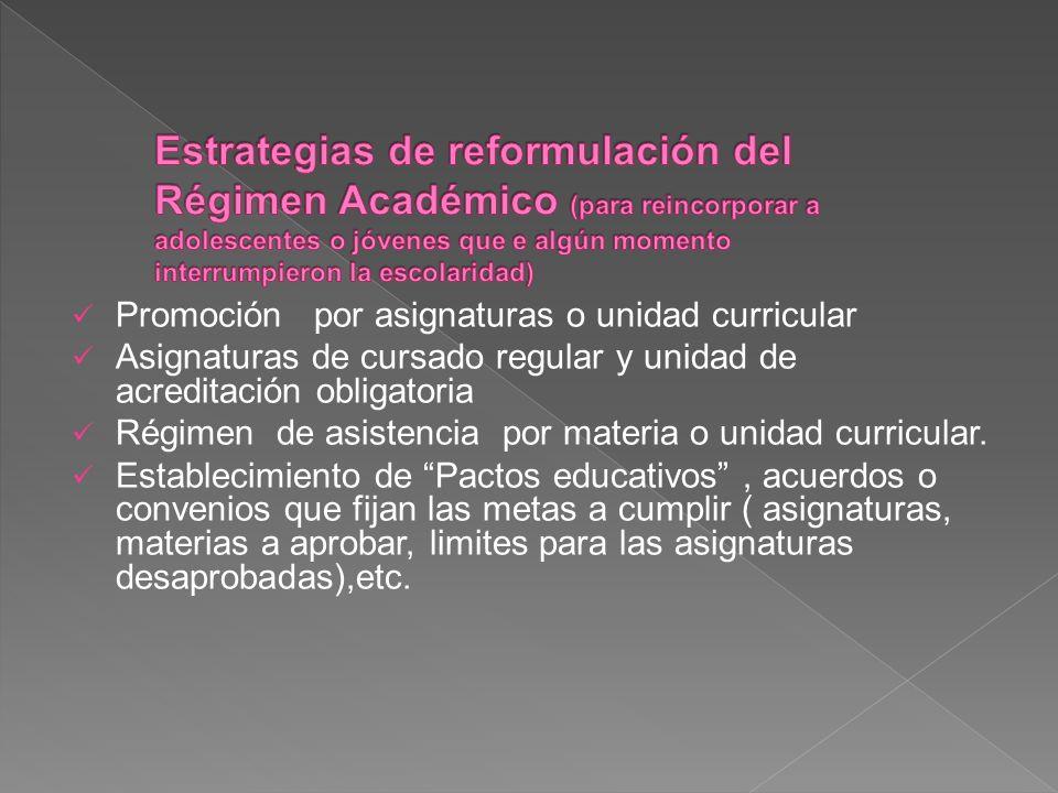 Estrategias de reformulación del Régimen Académico (para reincorporar a adolescentes o jóvenes que e algún momento interrumpieron la escolaridad)