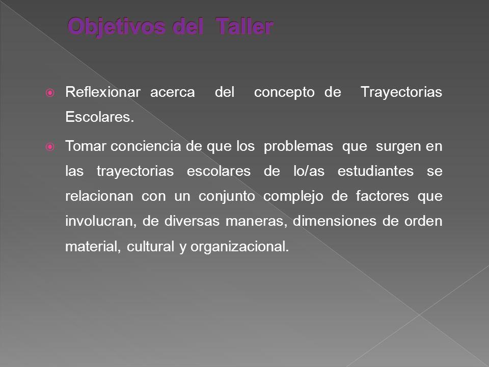 Objetivos del Taller Reflexionar acerca del concepto de Trayectorias Escolares.