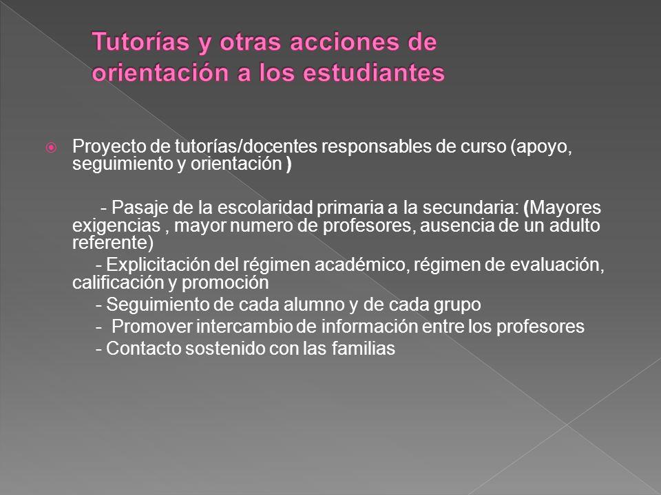 Tutorías y otras acciones de orientación a los estudiantes