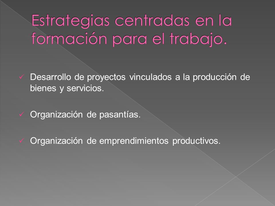 Estrategias centradas en la formación para el trabajo.