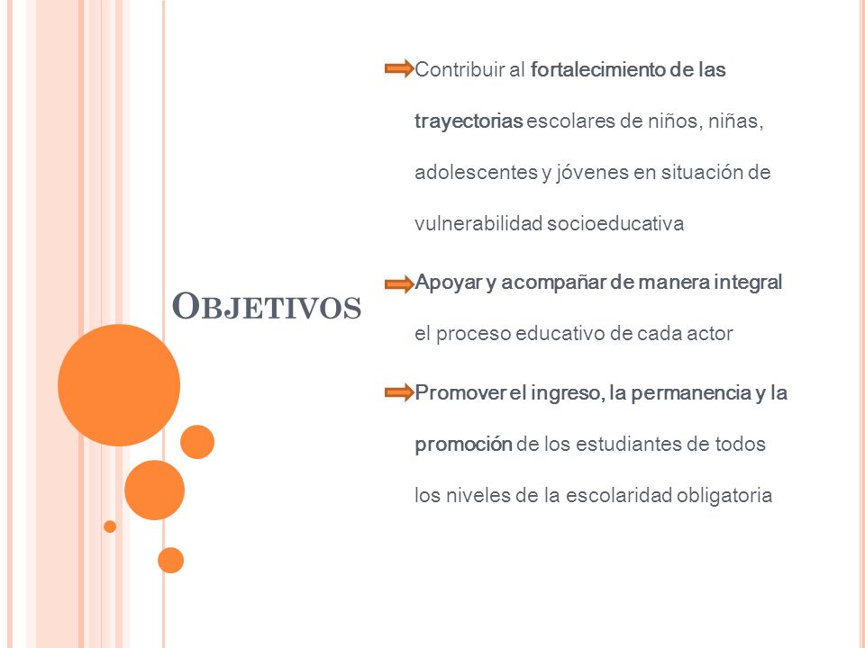 Contribuir al fortalecimiento de las trayectorias escolares de niños, niñas, adolescentes y jóvenes en situación de vulnerabilidad socioeducativa