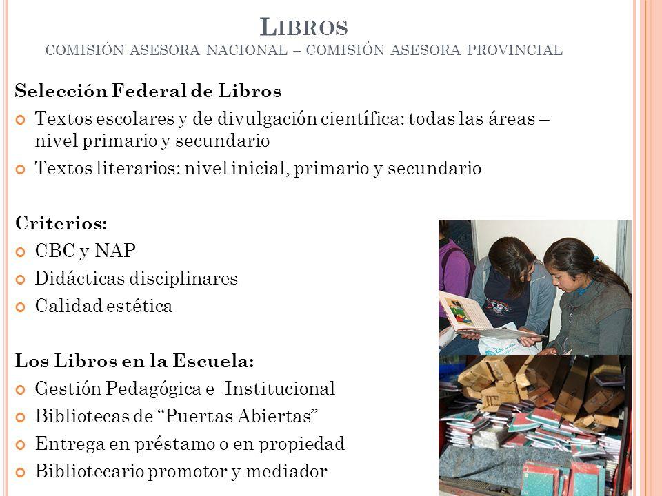 Libros COMISIÓN ASESORA NACIONAL – COMISIÓN ASESORA PROVINCIAL