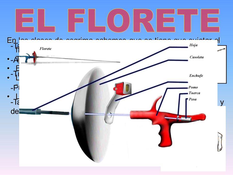 EL FLORETE En las clases de esgrima sabemos que se tiene que sujetar el florete: Tener la empuñadura en la mano.