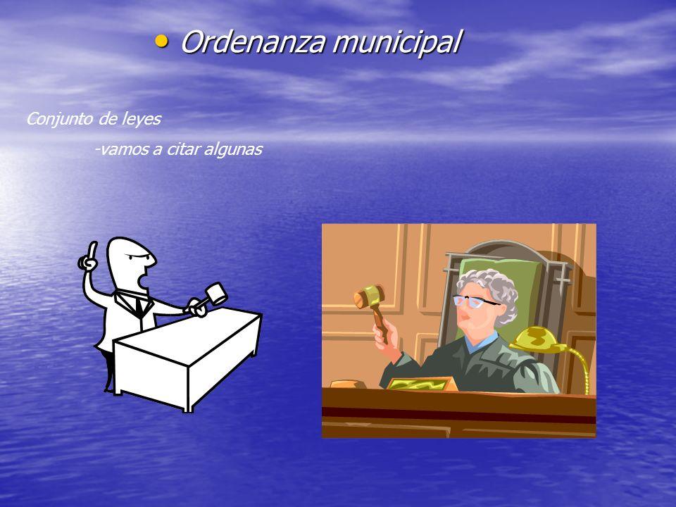 Ordenanza municipal Conjunto de leyes -vamos a citar algunas