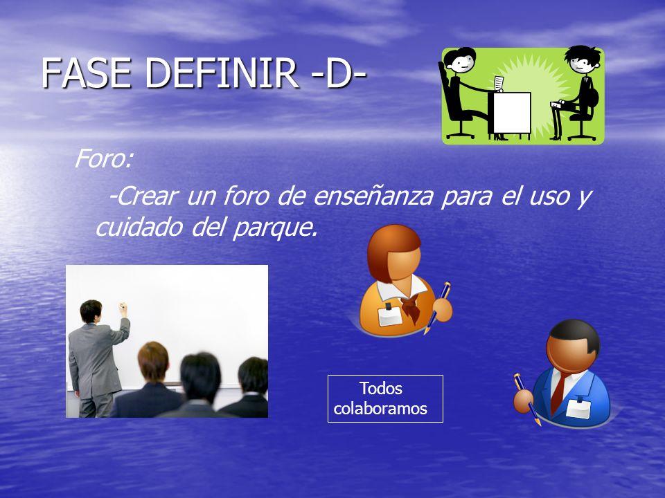 FASE DEFINIR -D- Foro: -Crear un foro de enseñanza para el uso y cuidado del parque.