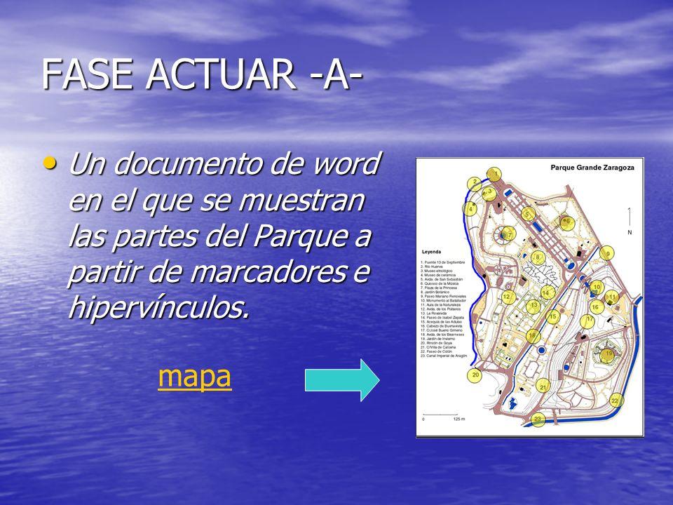 FASE ACTUAR -A- Un documento de word en el que se muestran las partes del Parque a partir de marcadores e hipervínculos.