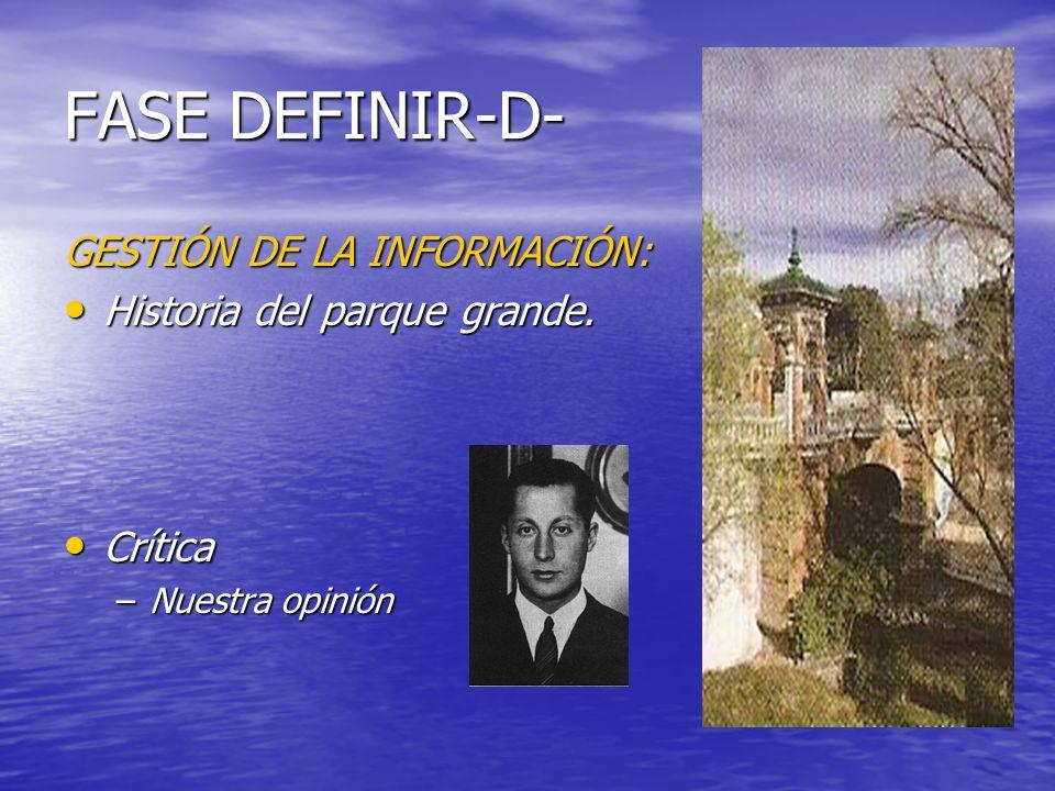 FASE DEFINIR-D- GESTIÓN DE LA INFORMACIÓN: Historia del parque grande.