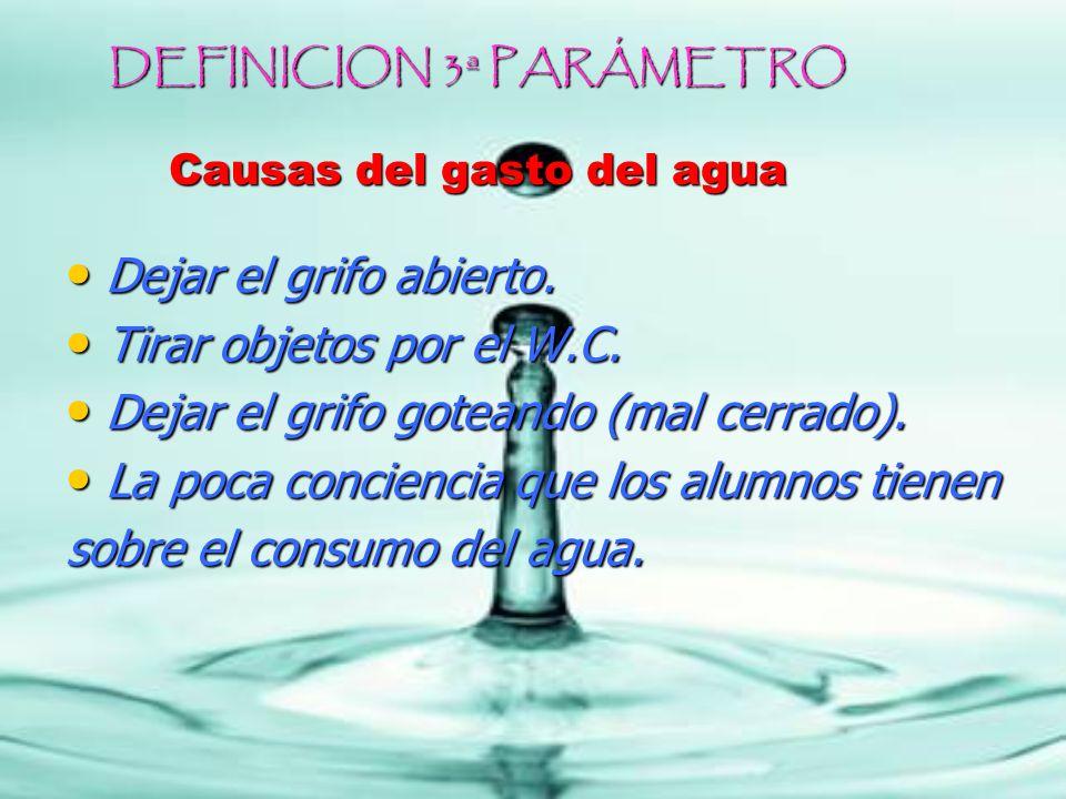 DEFINICION 3ª PARÁMETRO Causas del gasto del agua