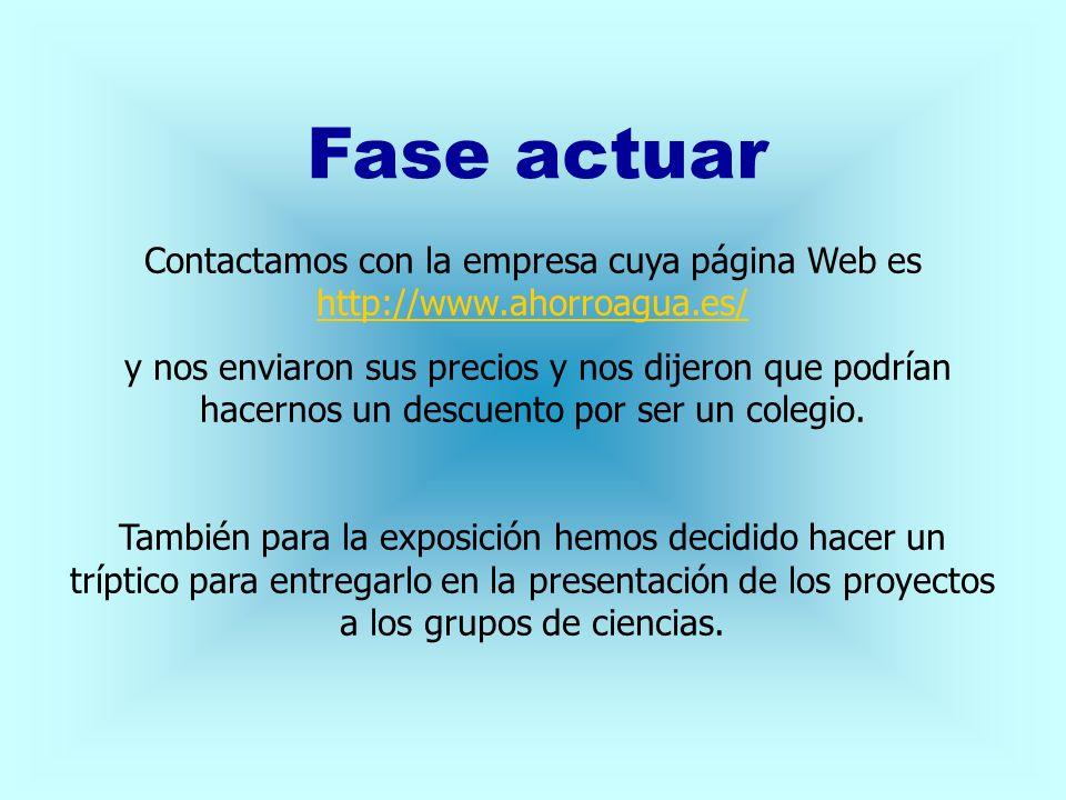 Fase actuar Contactamos con la empresa cuya página Web es http://www.ahorroagua.es/
