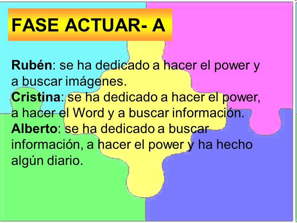 FASE ACTUAR- A Rubén: se ha dedicado a hacer el power y a buscar imágenes.