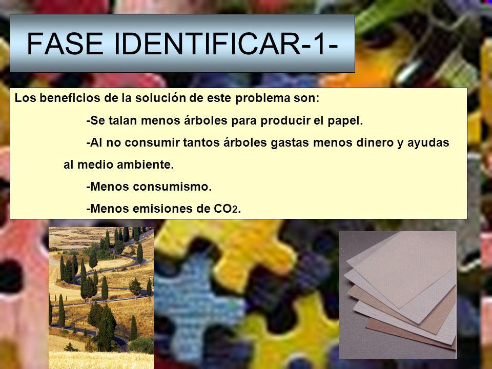 FASE IDENTIFICAR-1-Los beneficios de la solución de este problema son: -Se talan menos árboles para producir el papel.