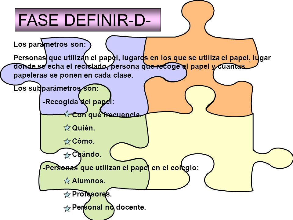 FASE DEFINIR-D- Los parámetros son: