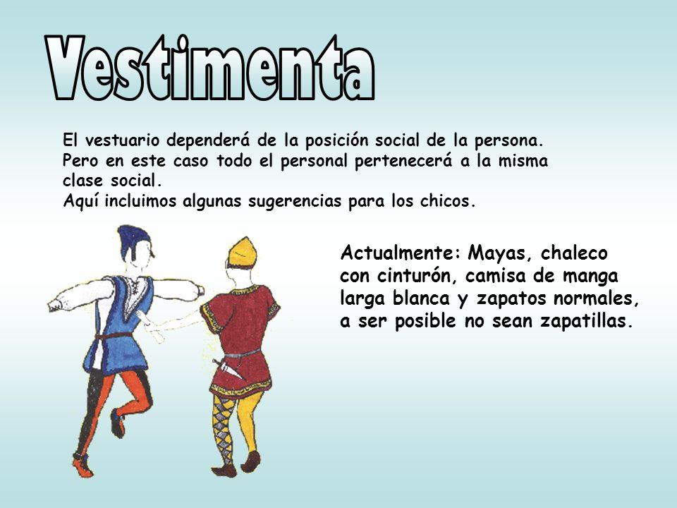 Vestimenta El vestuario dependerá de la posición social de la persona. Pero en este caso todo el personal pertenecerá a la misma clase social.
