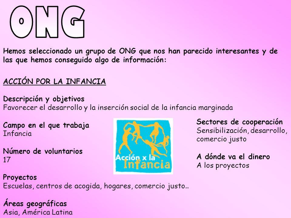 ONG Hemos seleccionado un grupo de ONG que nos han parecido interesantes y de las que hemos conseguido algo de información: