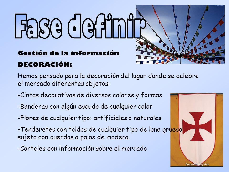 Fase definir Gestión de la información DECORACIÓN: