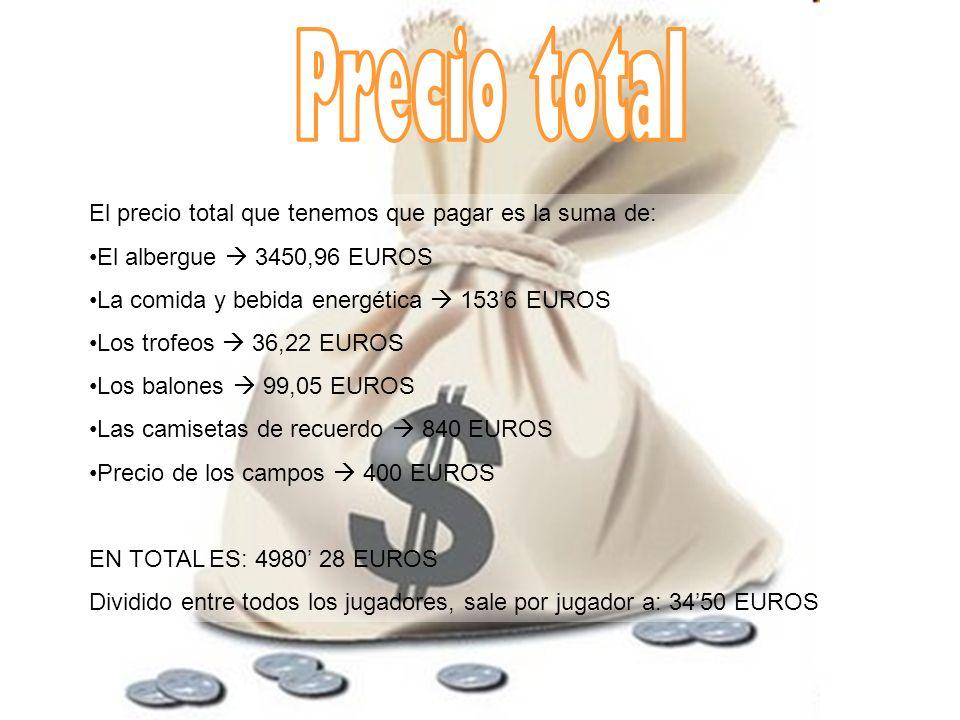 Precio total El precio total que tenemos que pagar es la suma de: