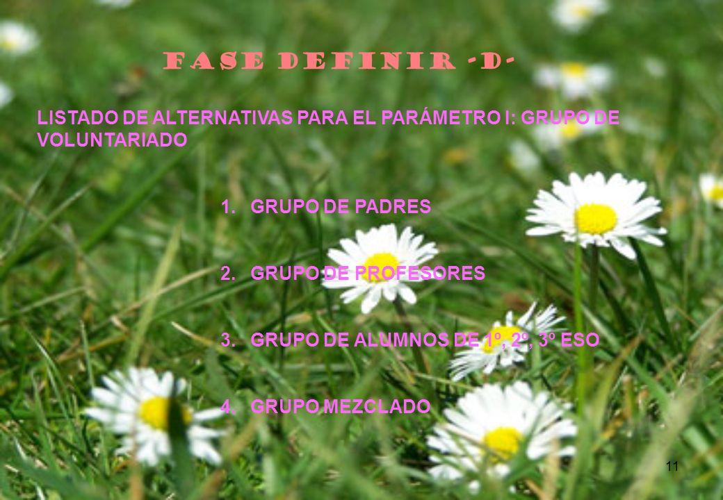 FASE DEFINIR -D- LISTADO DE ALTERNATIVAS PARA EL PARÁMETRO I: GRUPO DE VOLUNTARIADO. GRUPO DE PADRES.