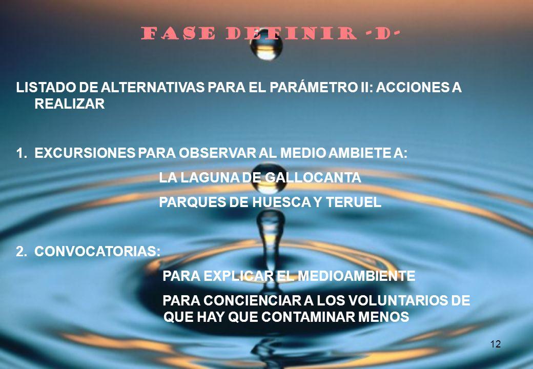 FASE DEFINIR -D- LISTADO DE ALTERNATIVAS PARA EL PARÁMETRO II: ACCIONES A REALIZAR. EXCURSIONES PARA OBSERVAR AL MEDIO AMBIETE A: