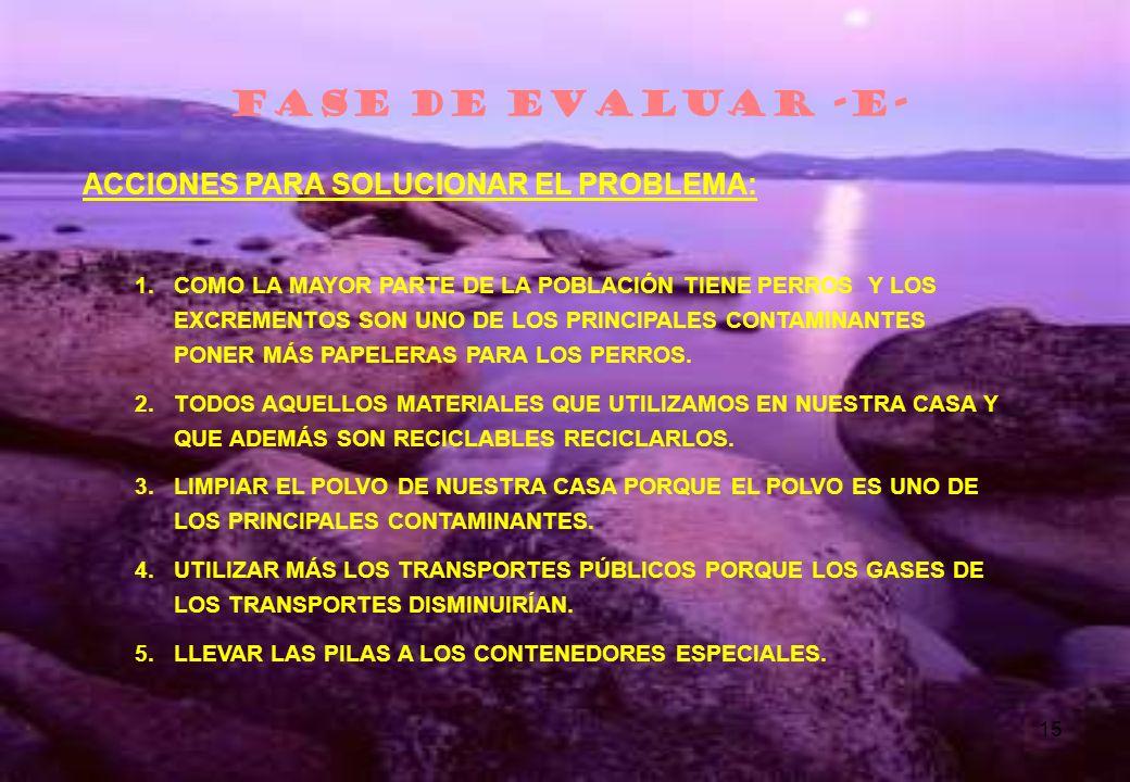 FASE DE EVALUAR -E- ACCIONES PARA SOLUCIONAR EL PROBLEMA: