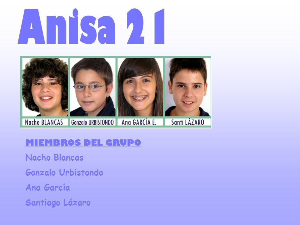 Anisa 21 MIEMBROS DEL GRUPO Nacho Blancas Gonzalo Urbistondo