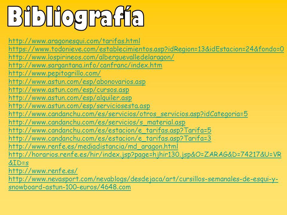 Bibliografía http://www.aragonesqui.com/tarifas.html