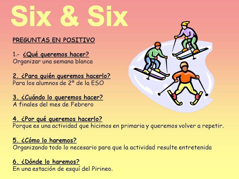 Six & Six PREGUNTAS EN POSITIVO 1.- ¿Qué queremos hacer