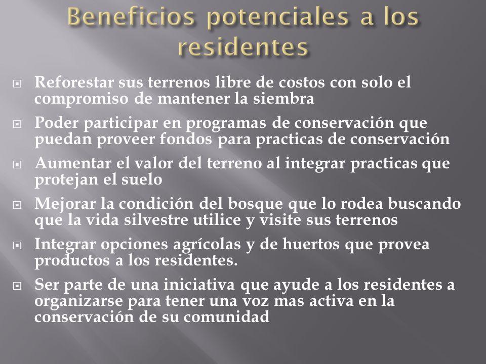 Beneficios potenciales a los residentes