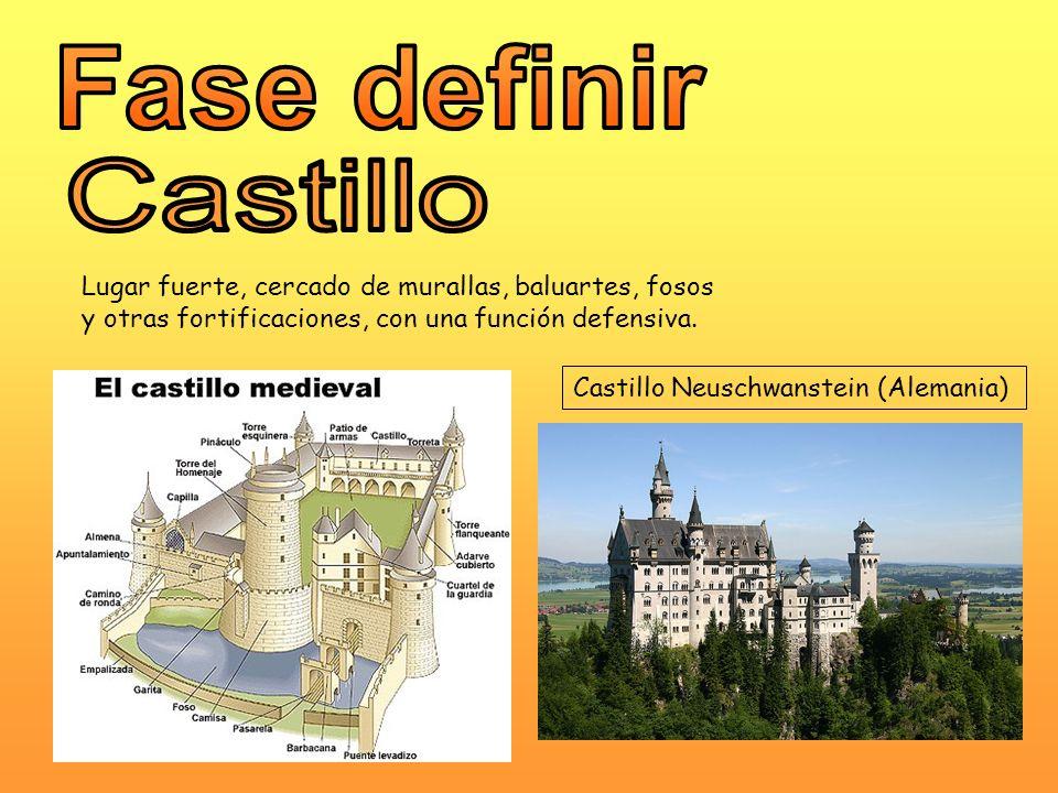 Fase definir Castillo. Lugar fuerte, cercado de murallas, baluartes, fosos. y otras fortificaciones, con una función defensiva.